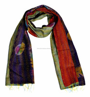 Handmade Multicolors Traditional Indian Kantha Work Ladies Cotton scarfs and stoles Scarf