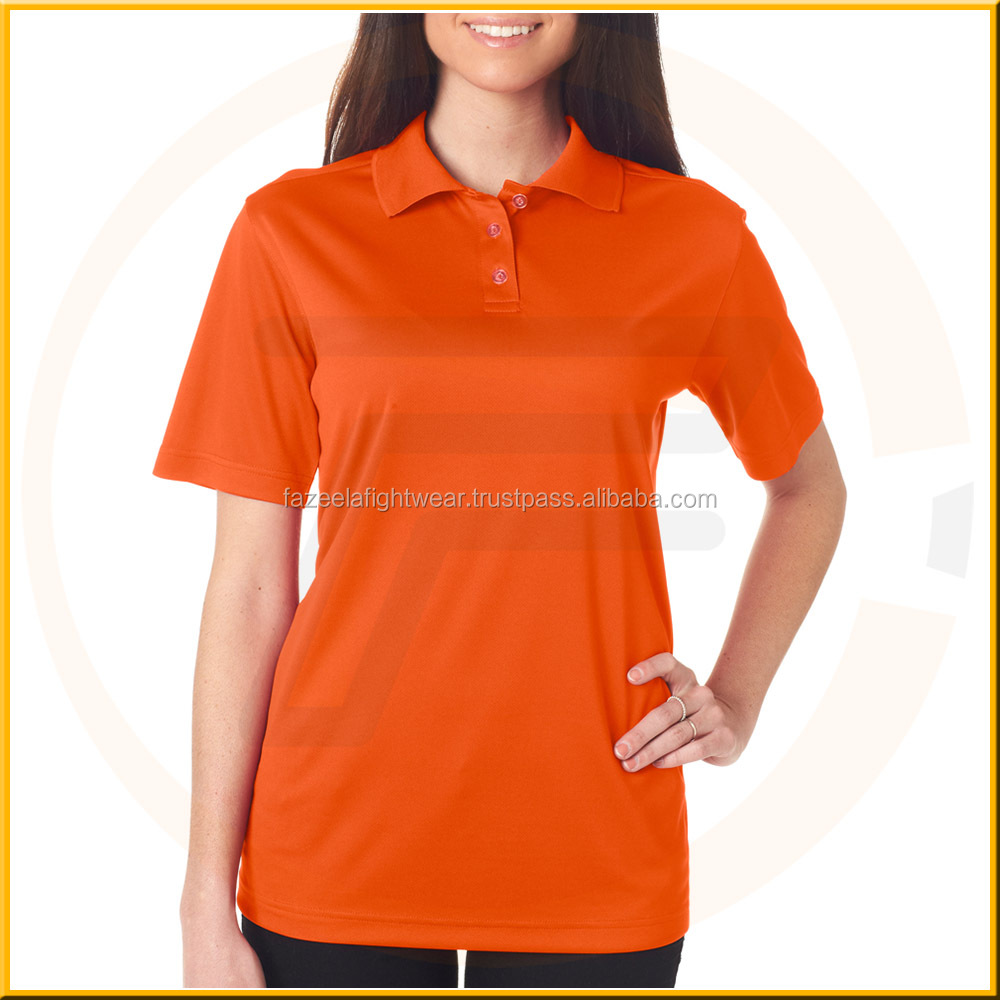 Fashion women polo shirts ladies slim polo shirts with white dot printed wholesale cotton polo shirts