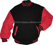 Cosh International: Classic Style All Wool Body Black And Red Sleeves Baseball Unisex Varsity Jackets Supplier SN-70022