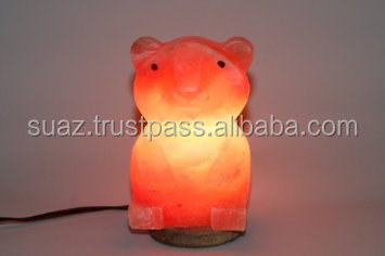 Hand crafted himalayan rock salt lamps , Bear Shape Rock salt lamp , Animal Crafted Salt Lamp