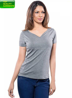 Women Girls Ladies Simple Silver & Blue Colour Blouse T Shirt Fit Charm Casual Wear VNeck Evening Garment Cotton Jersey#45319216