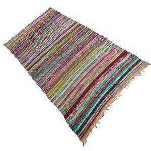 "Multicolor Hand Woven Mat Dari Recycled Chindi Cotton Rag Rug Indian Carpet 68"" X 43"" RUG1121A"