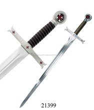 Manufacturer of Templar Sword With Leather Scabbed