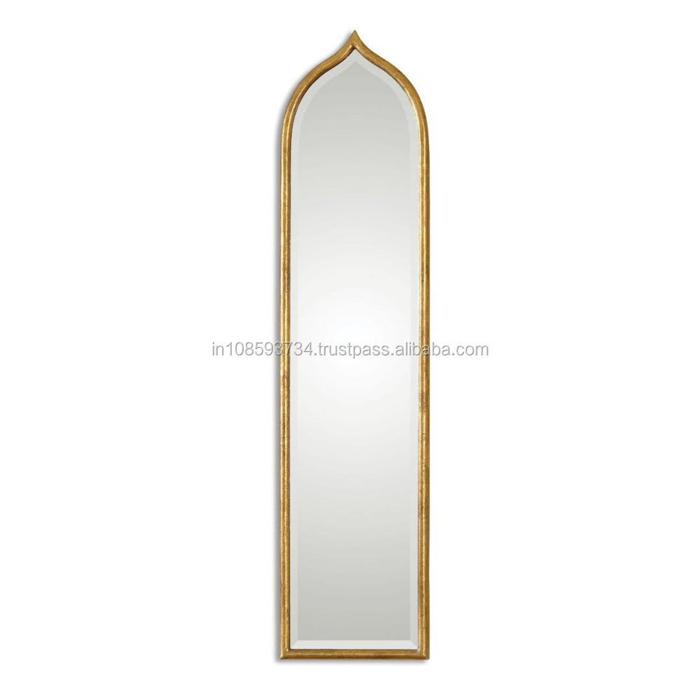 Tall gold mirror antique veranda ivory desk full image for Long tall mirrors