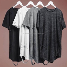 alibaba streetwear hipster men clothes kanye west clothing mens curved hem ripped tee shirts extended distressed t shirt