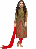 New Embroidered Olive & Red Glace Cotton Long Indo Western Suit