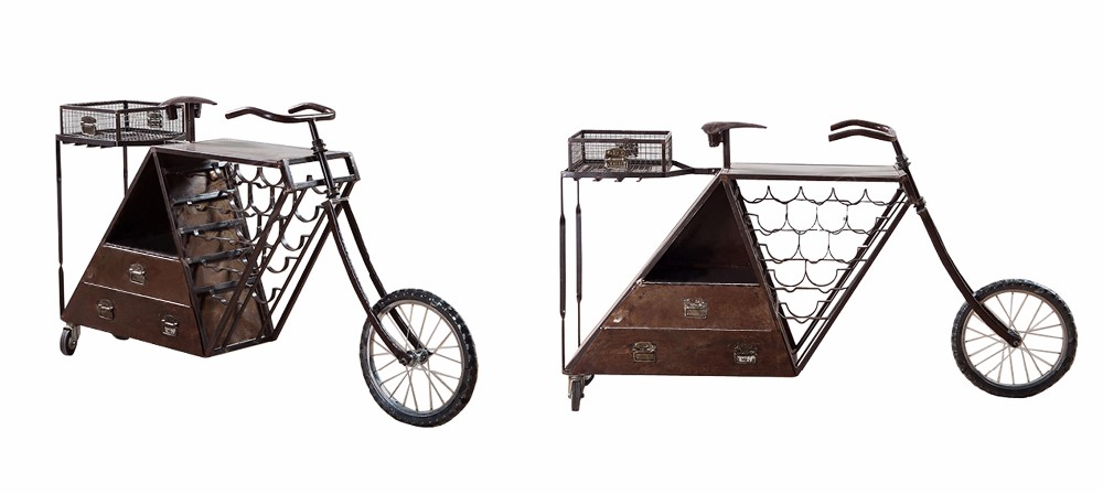 INDUSTRIAL IRON WINE CART IN CYCLE STYLE