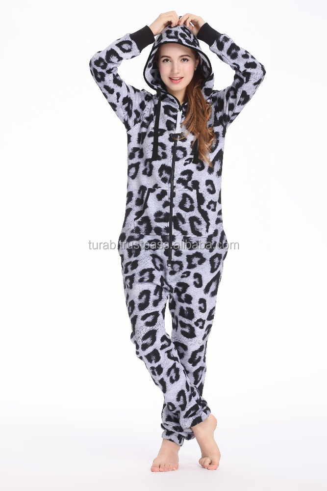 LEOPARD PRINTED ONESIES FLEECE ONE PIECE JUMPSUIT