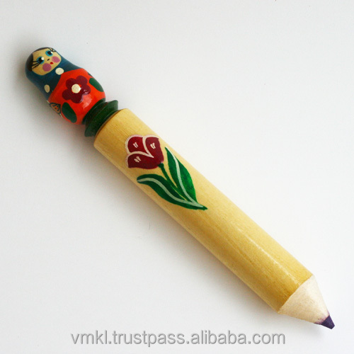 Big souvenir pencil with Matryoshka, made of wood pencil, hand pained art and craft, AP2