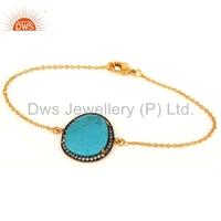 14K Yellow Gold Plated Bezel Setting Bracelet, 925 Silver Turquoise Gemstone Silver Bracelet