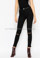 T_ New design hot quality high waist ripped girls sexy black tight jeans for women