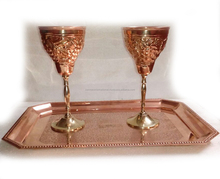 BPA FREE 100% PURE COPPER WINE GOBLET GLASSES, EMBOSSED DESIGN SOLID COPPER MARTINI CUP GOBLET, COPPER CHAMPAGNE FLUTES