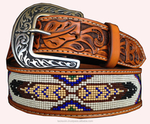 CUSTOM BEADED BELT WITH FEATHERS BEADING