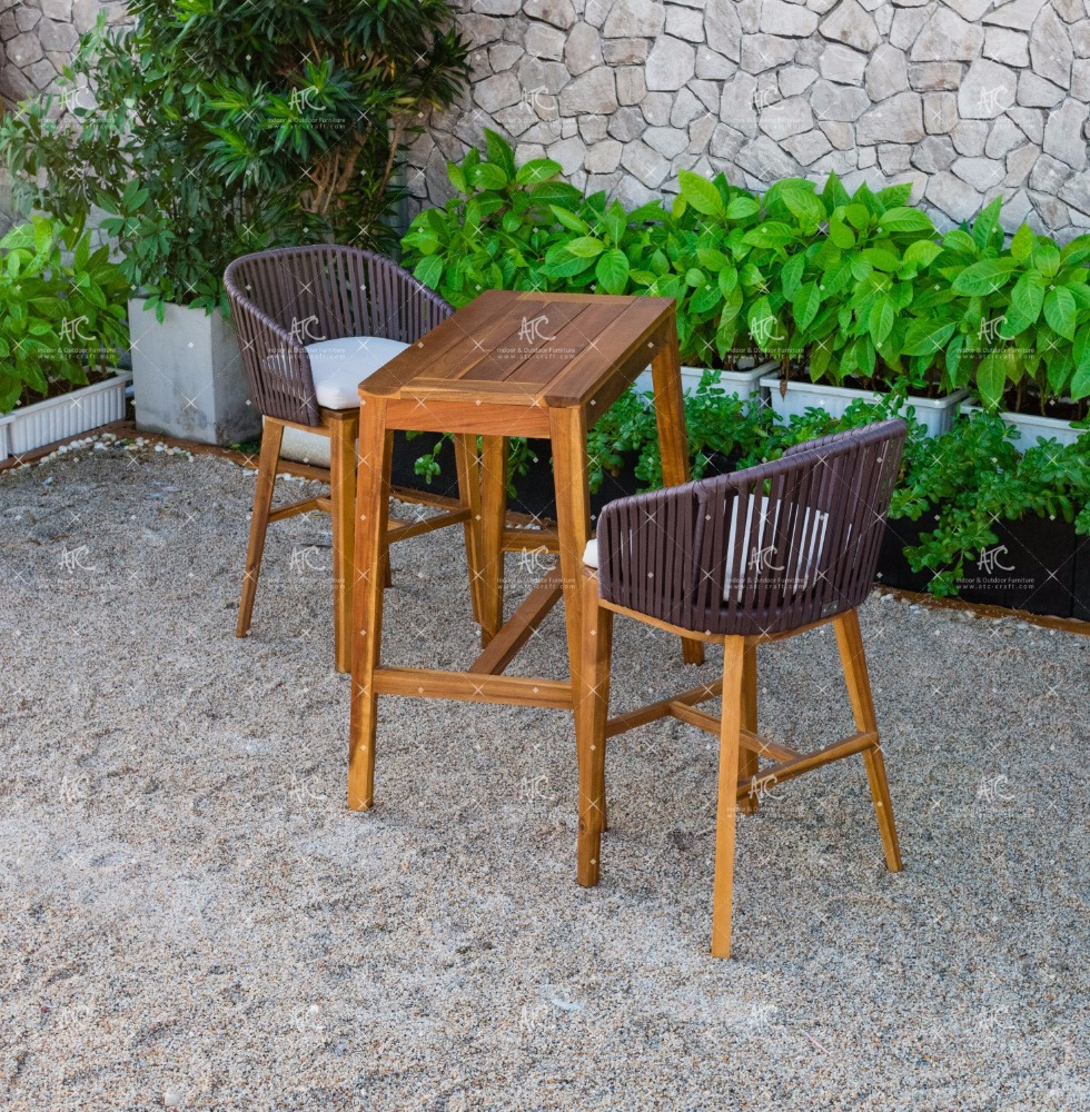 RABR-099 Hot summer trendy Wicker PE Rattan Bar set 2 chairs and Acacia Wooden table for Outdoor Furniture