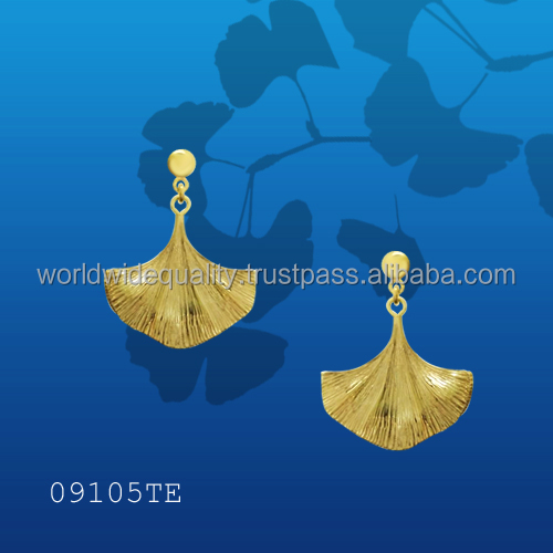 Popular Botanic Ginko leaf Earrings 14k gold jewelry wholesale online shopping thailand bangkok