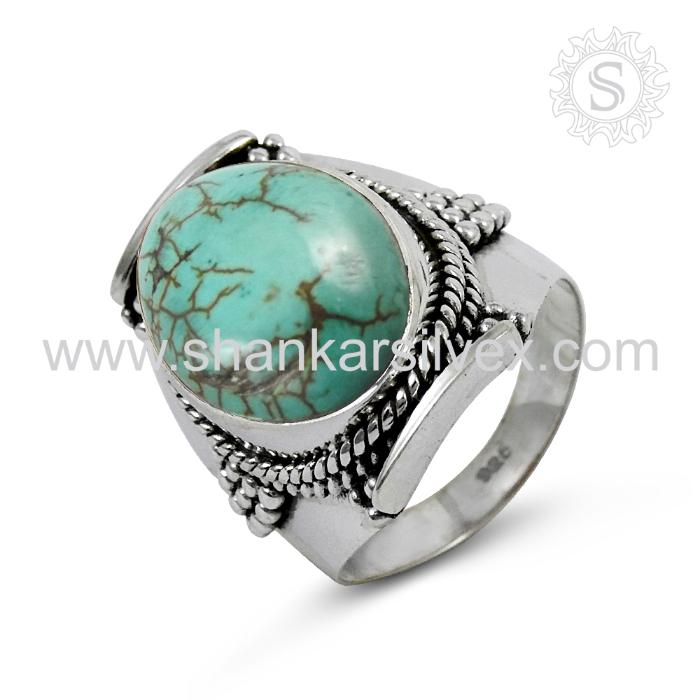 New Arrival Turquoise Gemstone Ring 925 Sterling Silver Jewelry Souvenir Indian Silver Jewelry Supplier