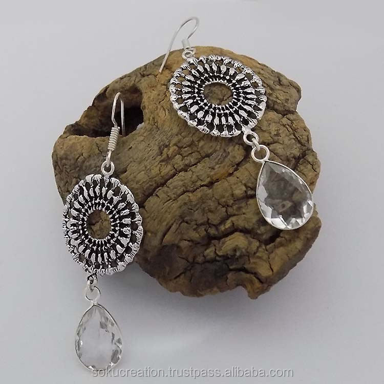 Silver Oxide Plated Antique Look Designer Filigree Artisan Handcrafted Round Drop Dangle Earring SOKU#3570