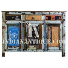 INDUSTRIAL VINTAGE FURNITURE INDIAN RECYCLED WOOD AND TIN SIDEBOARD FURNITURE RWT-05