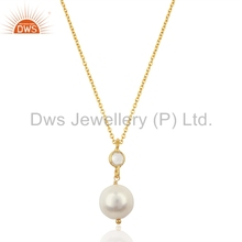 Natural Pearl and White Topaz Gemstone Pendant Gold Plated Silver Designer Pendant Jewelry Supplier
