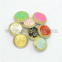 Platinum Tone Zodiac Alloy Enamel Constellation Snap Buttons, Flat Round with Aries SNAP-A051-AG-NR