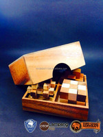Best seller!! Wooden puzzle 4 Games in a wooden Box