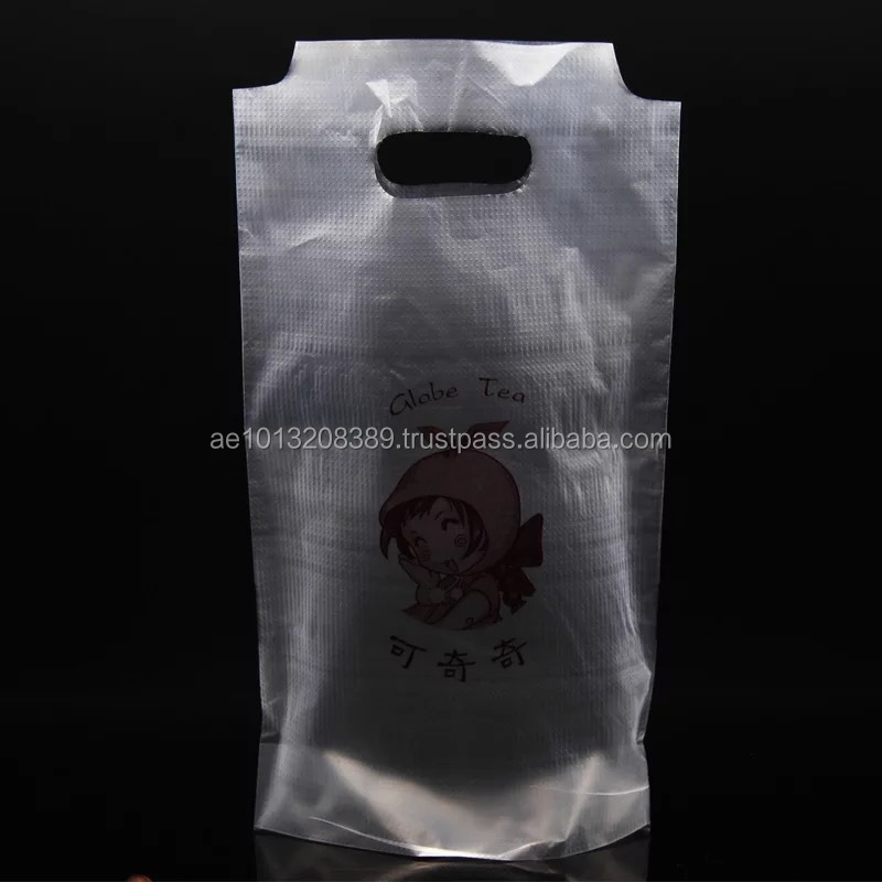 Custom Printed Plastic Gift Shopping Bag with Die-Cut Handle