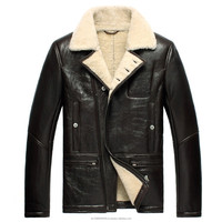 Men's Winter Sheepskin Shearling Biker Leather Jacket Black