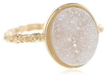 Buy Wholesale 16x12 mm Oval Opal White Drusy Rings only for ladies direct from manufacturing