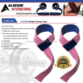 Custom Ladies Cotton Pink Weight Lifting Padded Straps / Men And Women Fitness Weight Lifting Straps