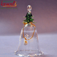 Transparent Blown working Glass christmas bell with tree on top - christmas decor christmas tree decoration