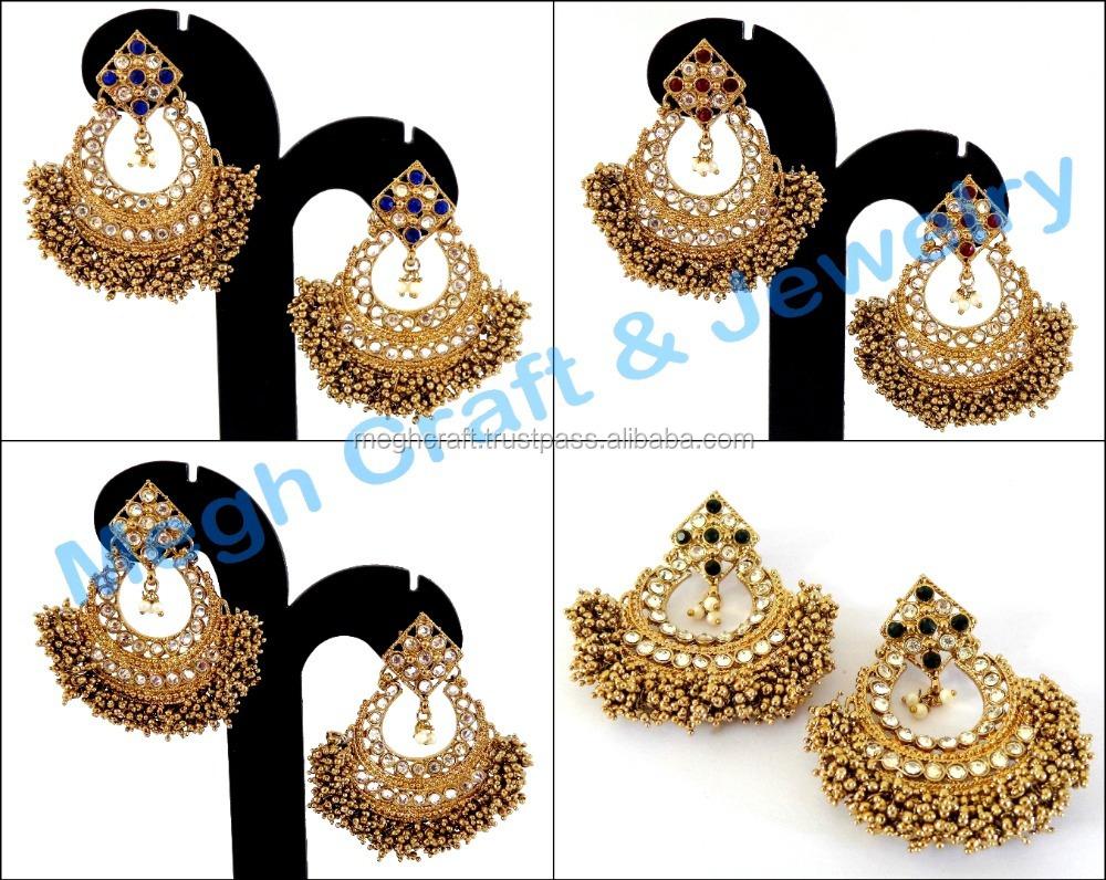 Wholesale Oversize Chandelier Earrings Bollywood Style