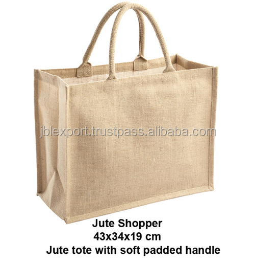 2016 Wholesale large Factory indian jute plain tote bag