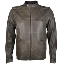 2016 Fashion genuine leather Distressed Beige Zayne Jacket for mens