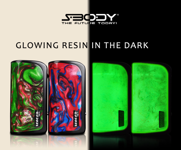 S-BODY colorful resin 2016 ecigs box mod electronic cigarette with resin drip tip