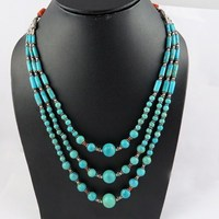 Paths Of Love !! Coral & Turquoise 925 Sterling Silver Necklace, 925 Sterling Silver Jewelry Manufacturer, Silver Jewelry