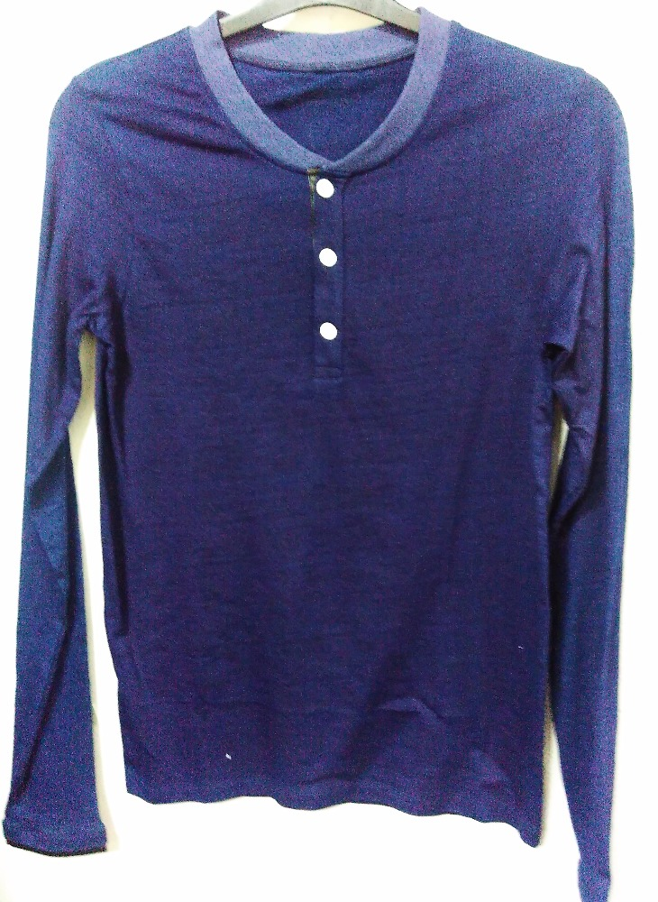 100% ORGANIC COTTON MENS HENLEY NECK TSHIRT COLD PIGMENT DYED