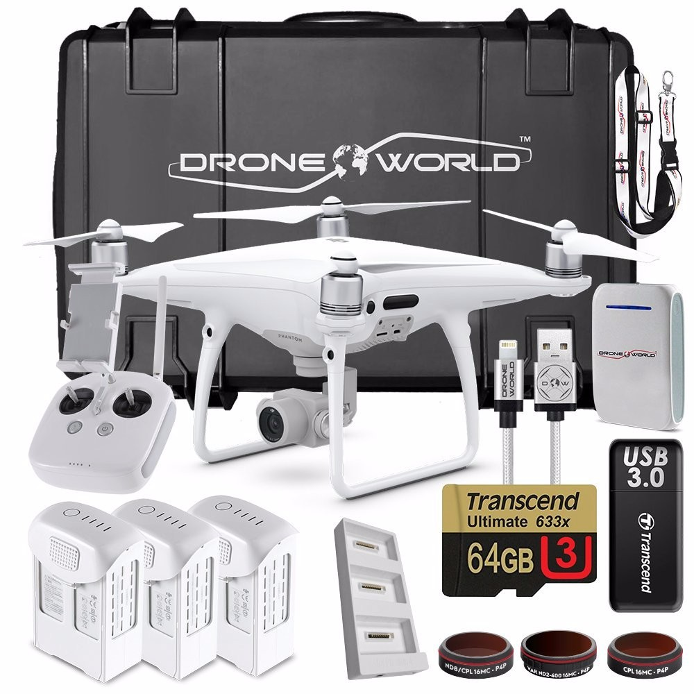 DJI Phantom 4 Pro Drone Professional Executive Kit w Custom Wheeled Case, 3 Batteries, Triple Battery Charging Hub, Filters, 64G
