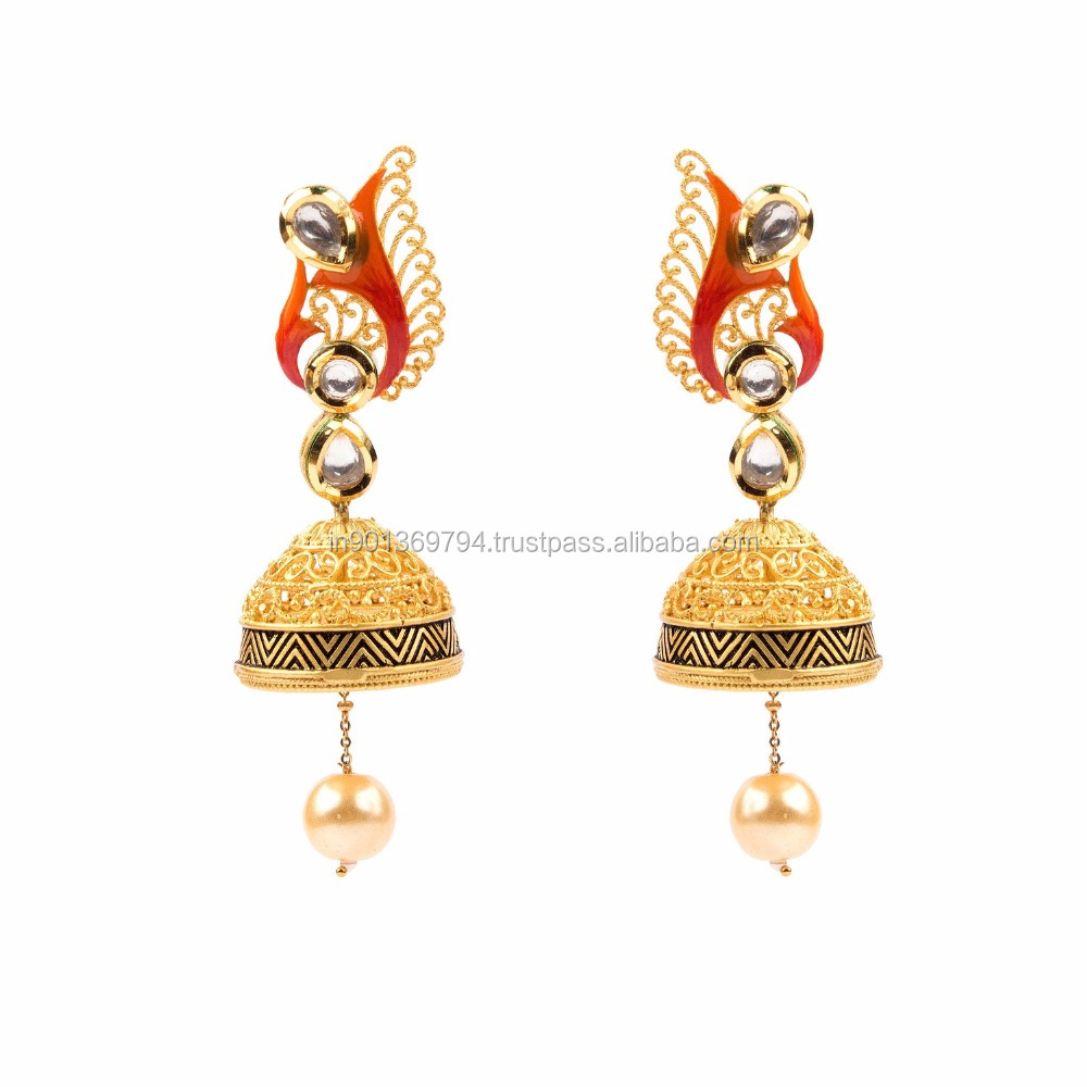 Ethnic Golden Jhumki Pearl Drop Kundan Stone Studded Enamel Gold Toned Artificial Designer Fashion Light Weight Earrings