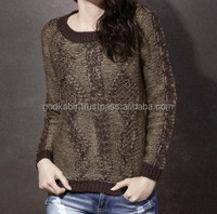 Comfortable and traditional base new fancy look brown color handmade Self Design Round Neck Casual Women's Sweater