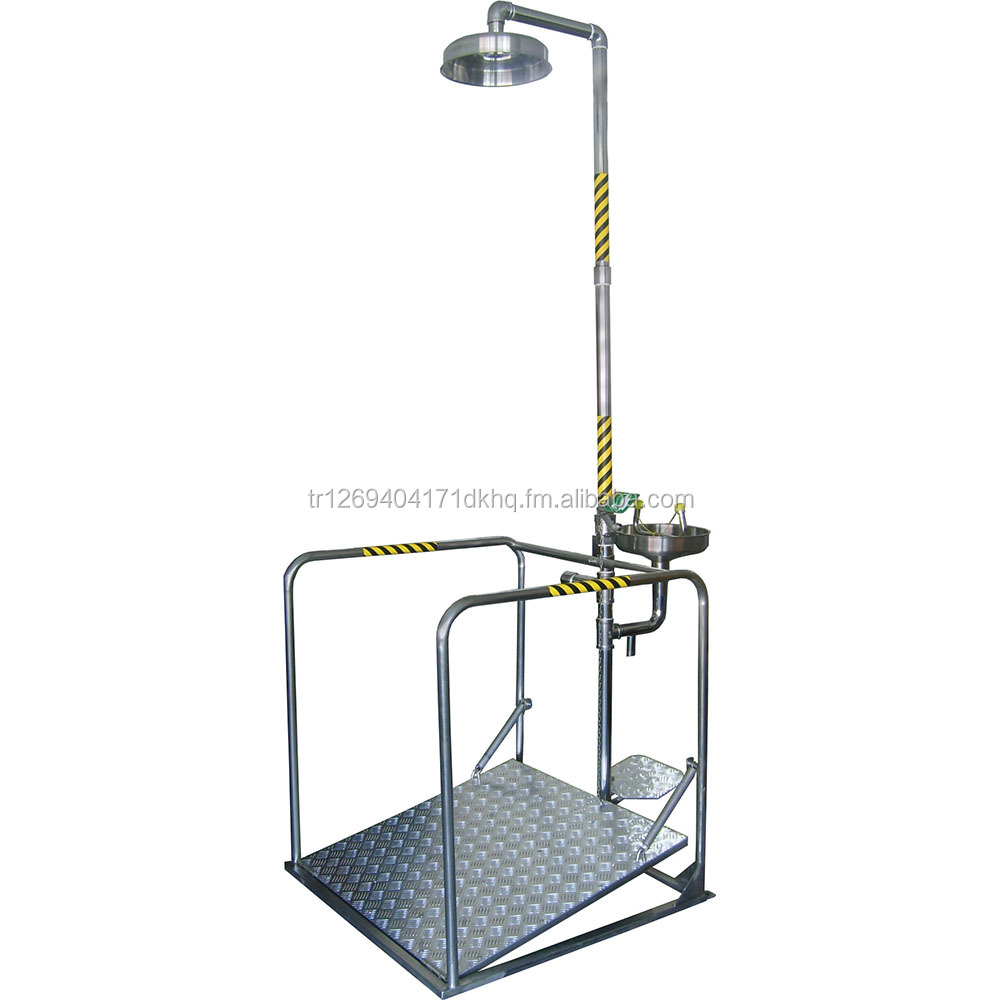 Stainless Steel Safety Shower with Eyewash Unit (Platform with Railing) EN 15154 & ANSI Z358 Certified