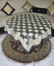 Traditional Table Runner Table Cloth for Wedding and Home Decoration Tissue Fabric Gray Color