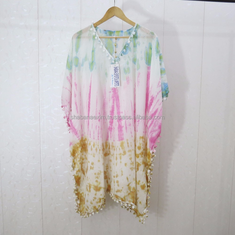 Pastel dye kaftan cover up beach tunics wholesale