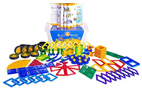 160 Large Pieces Buzz and Heidi Magnetic Building Block Tile Set w/Wheels & Skis