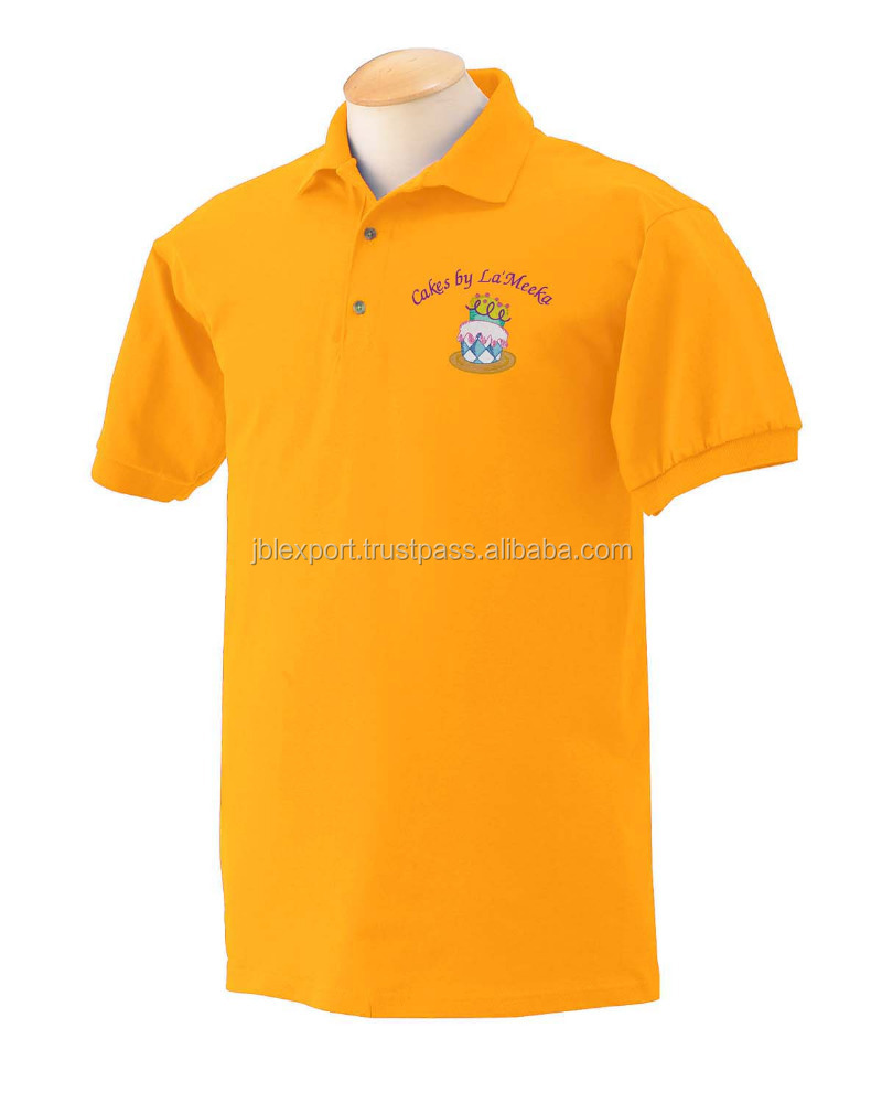 Hot Sell custom logo wholesale embroidered yellow polo shirt 2016