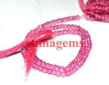 Pink Crystal Micro Cut Roundel Bead Strand 3-4 mm Coated Pink Gemstone Beads