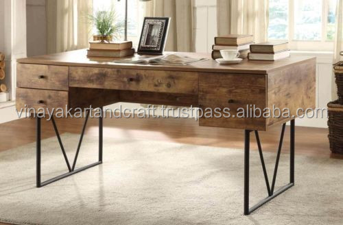 industrial metal wood office desk,executive office wooden desk