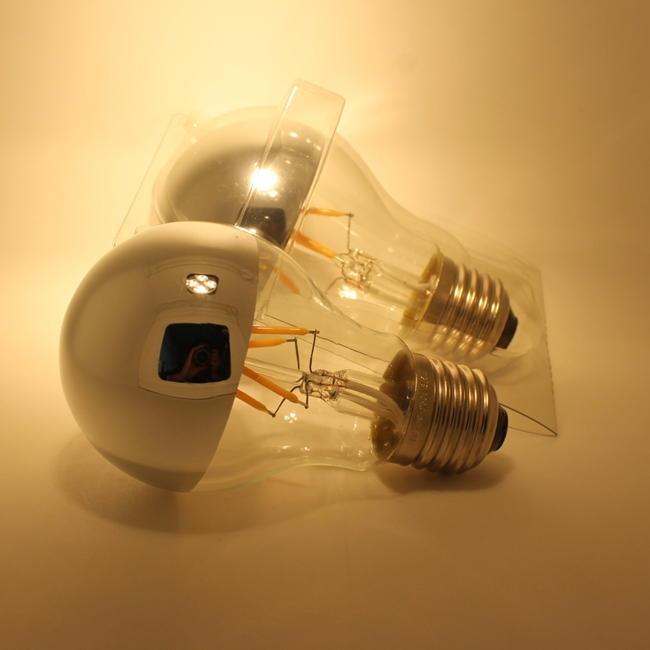 A60 A19 Shadowless led filament bulb with mirror silver top
