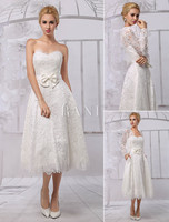 A-Line Tea Length Lace Wedding Dress With Long Sleeve Bolero/Wrap