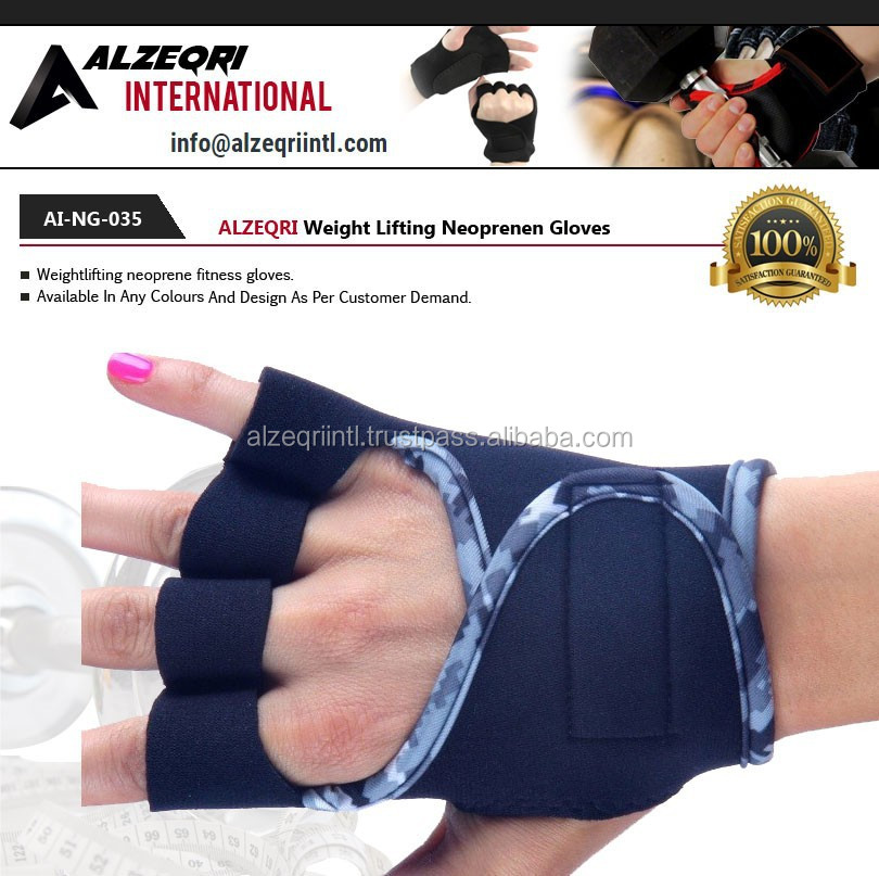 Custom Weightlifting Half Finger Neoprene Gloves / Sports training Gym Gloves Ladies