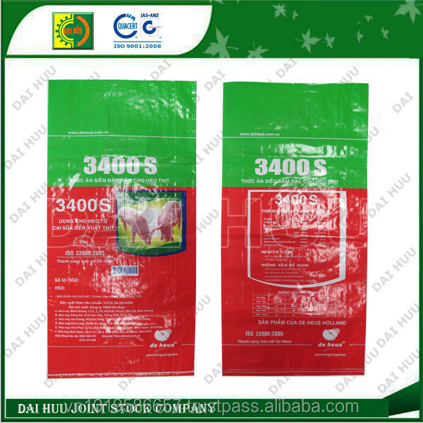 New product PP woven laminated sack for animal feed, virgin raw material PP woven sack